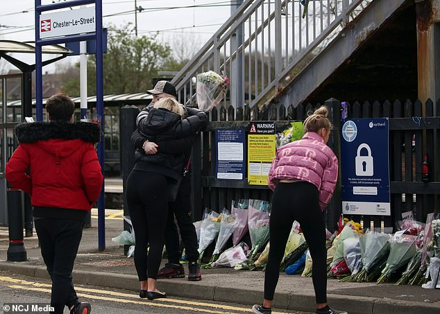 Flowers and tributes have been left on the station platform in the wake of this week's tragedy