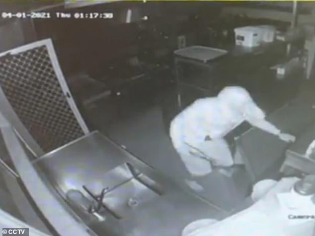 Two hooded men were captured on CCTV cameras ransacking the kitchen of the Suncare Village in Brisbane's Ipswitch, before allegedly taking off with five days worth of meat