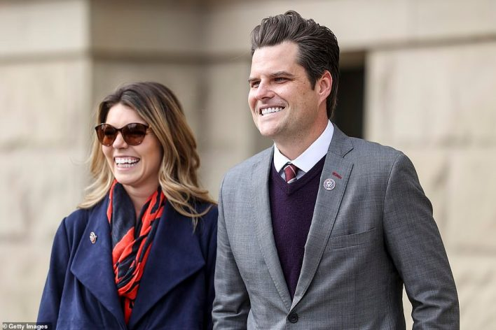 Rep. Matt Gaetz's sleazy sex game included a Harry Potter challenge where players earned extra points for sleeping with married lawmakers, virgins and in sorority houses, according to a report. Gaetz with fiancée Ginger Luckey