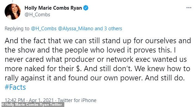 'Rallying against it'Combs said she 'never cared what producer or network executives wanted' the three leading ladies 'more naked for the $,' in another tweet