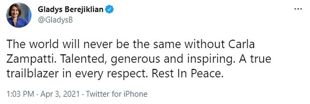 NSW Premier Gladys Berejiklian tweeted: 'The world will never be the same without Carla Zampatti. Talented, generous and inspiring. A true trailblazer in every respect. Rest In Peace'