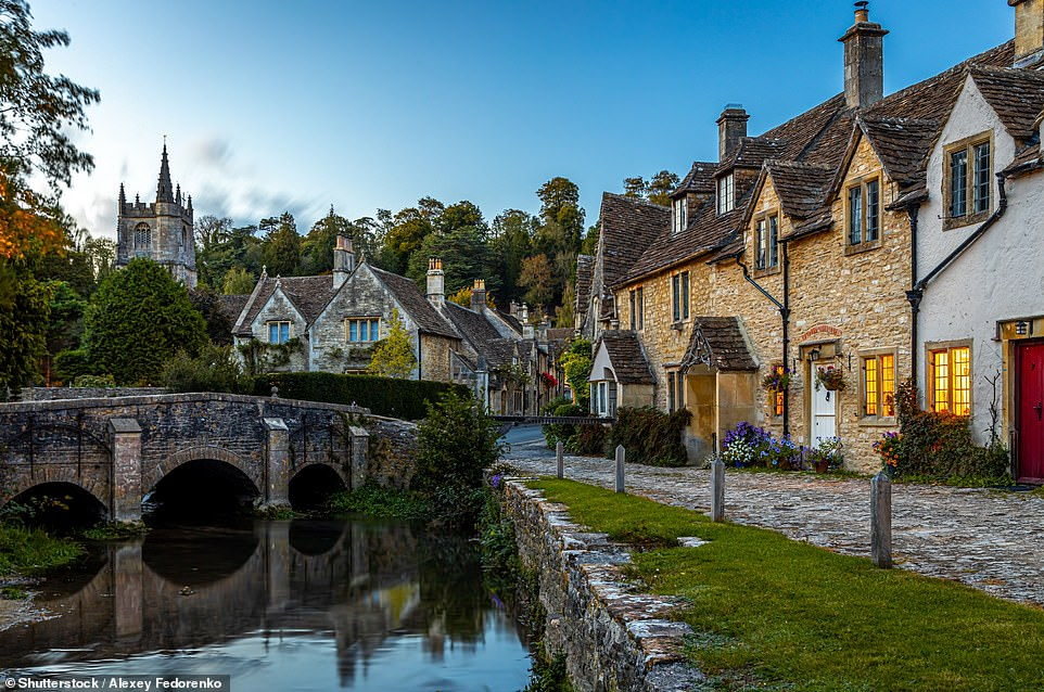 Stunning: The Cotswolds is known for its splendid views and idyllic chocolate box cottages. Pictured is Castle Combe