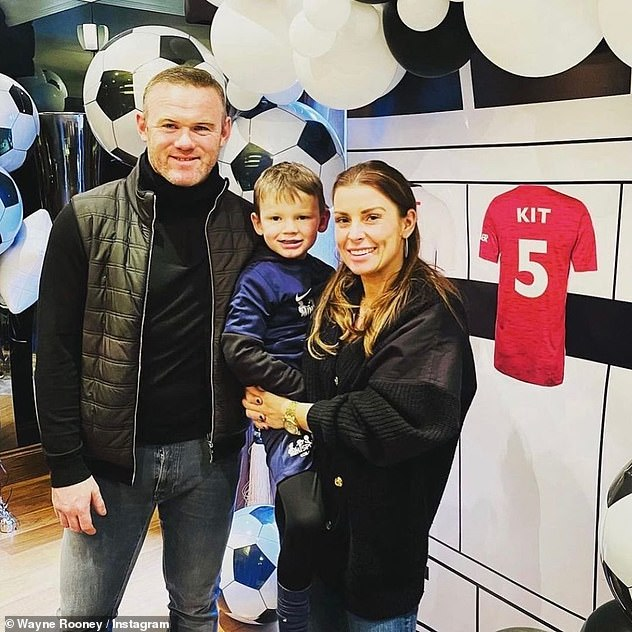 Celebrating:Wayne shared a throwback snap of himself and Coleen, who he married in 2008, celebrating Kit's fifth birthday in January