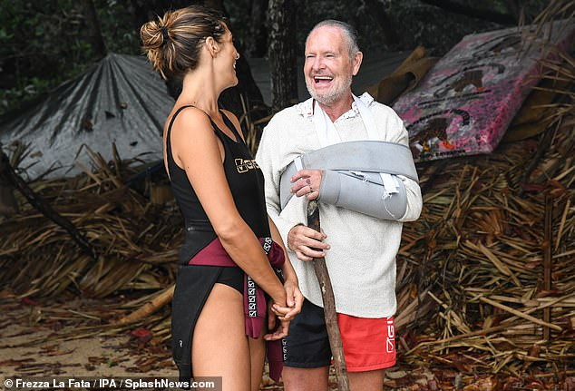 Back:Paul Gascoigne appeared overjoyed on Saturday, after returning to Italian I'm A Celebrity in an arm brace, amid reports that he is receiving 'special treatment' due to his dislocated shoulder