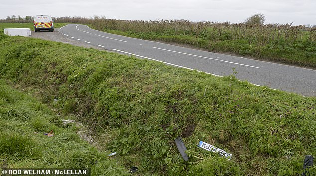 Police rushed to Canewdon, Essex at around 1.50am today after a black Ford Fiesta had 'come to stop in a ditch'. Pictured: The scene