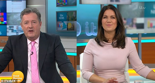 Having the last laugh: Piers even joked his vaccine wasn't 'as painful as working with Susanna Reid' (pictured together on Good Morning Britain)