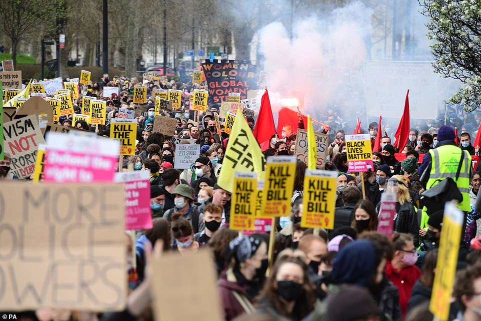 Thousands of activists have descended on London (pictured) as police brace for weekend of chaos with more rallies set to take place in towns and cities across the UK