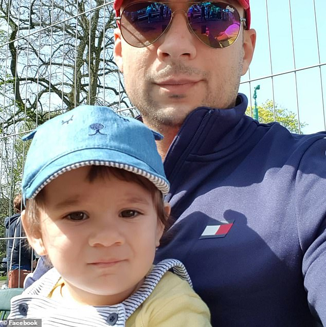 Alex Radan (pictured with his father George), two, was playing in the street when he was struck by a Honda Civic in Charnwood Place at around 6.50pm on Friday