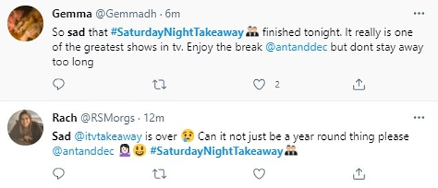 Sad: Viewers were left devastated over the final episode of the series as they took to Twitter to insist the show should be a regular staple on Saturdays