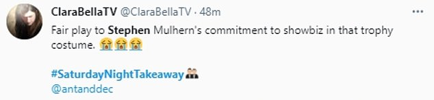 Hilarious: Fans quickly took to Twitter to discuss the side-splitting moment, with one social media user writing: 'Fair play to Stephen Mulhern's commitment to showbiz'