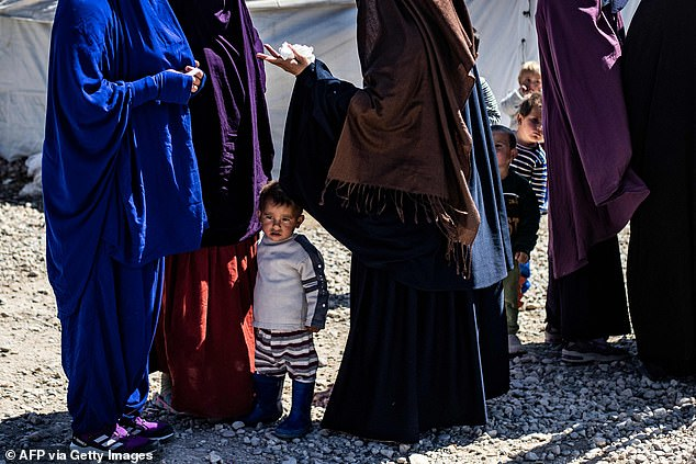 Pictured: A child stands between a group of women at Camp Roj in Syria, where relativesof people suspected of belonging to the Islamic State (IS) live