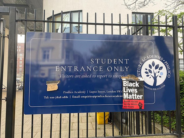 Dozens of Pimlico pupils carried SWP placards and the main school sign was plastered with 'Join the Socialists' stickers during the protest