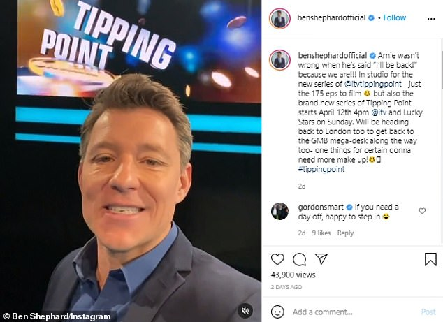 Busy bee:Ben took to Instagram last week to reveal that he is busy filming ITV's Tipping Point and has 175 episodes to film