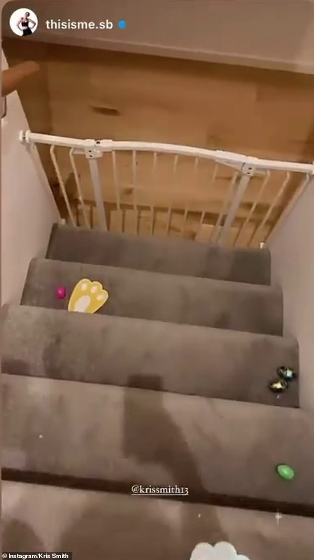The goods!Myer model Kris Smith, who shares Mila and Frankie with partner Sarah Boulazeris, proved it was an early morning in his house with eggs on the stairs