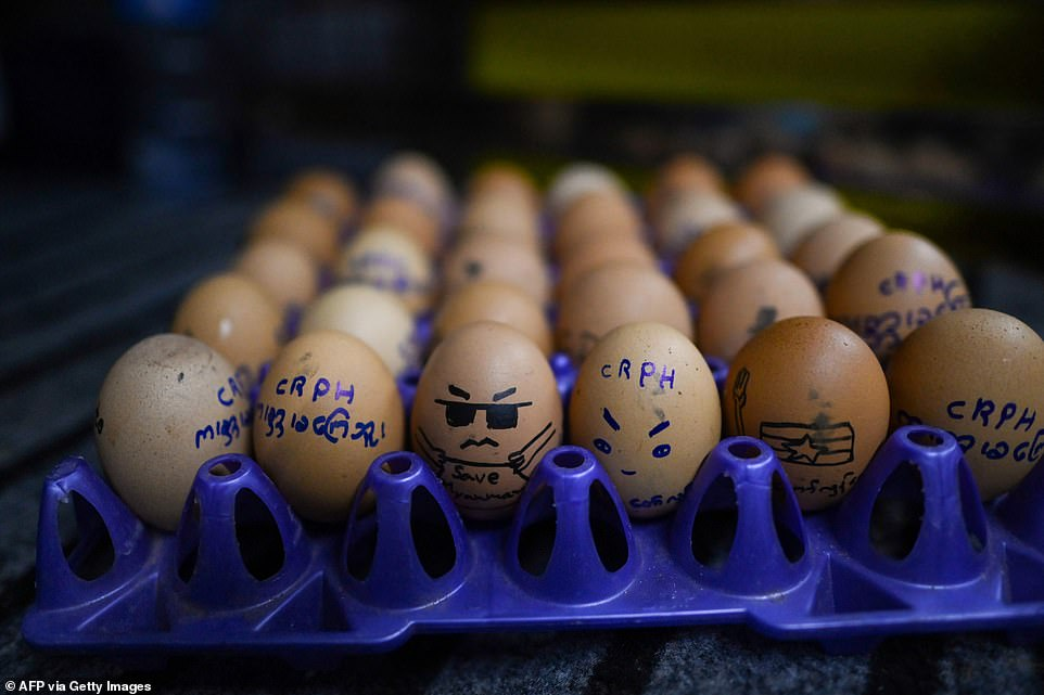 In Myanmar, anti-coup demonstrators decorated boiled eggs to show their support for the protesters to mark Easter Sunday