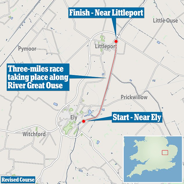 A map showing the revised three-mile course taking place on the River Great Ouse in Cambridgeshire