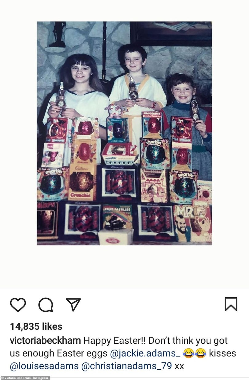 Throwback: Victoria also used the occasion to share a throwback of herself with her sister Louise and brother Christian as young children posing with a sizeable stack of Easter eggs