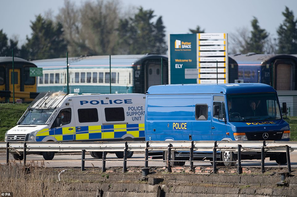 Police vans arrive in Ely before the Men's Boat Race on the River Great Ouse near Ely in Cambridgeshire. Picture date: Sunday April 4