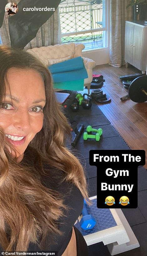 So much pun: Clearly impressed with her penchant for puns, the TV personality followed up with another selfie, as she wrote, 'Get it? Gym bunny? I'll get my coat'