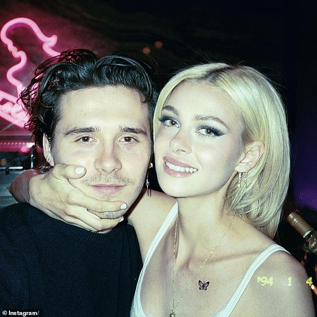 Generous gesture: Brooklyn Beckham is pictured with his American fiancée Nicola Peltz, whose family sent Victoria the Easter hamper packed with sweet treats and designer goods