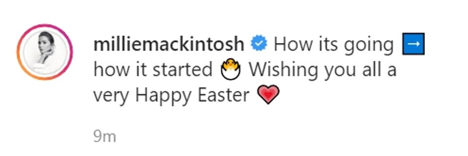 Cute: Millie Mackintosh shared a sweet snap with daughter Sienna and husband Hugo Taylor to mark Easter Sunday, as she reflected on being heavily pregnant one year ago