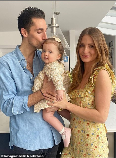 Now and then: The former MIC star, 31, donned the same yellow floral maternity dress as she posed with her daughter, who turns one next week, and Hugo, 34, with a photo of her heavily pregnant on Easter Sunday 2020
