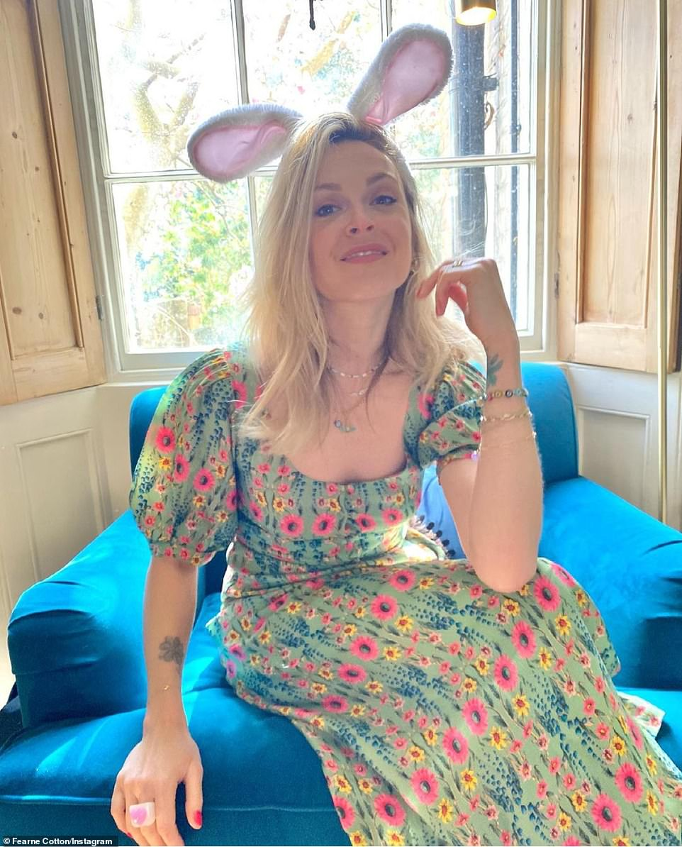 Ear we go again: TV personality Ferne Cotton was also seen getting into the spirit of things as she posed wearing bunny ears