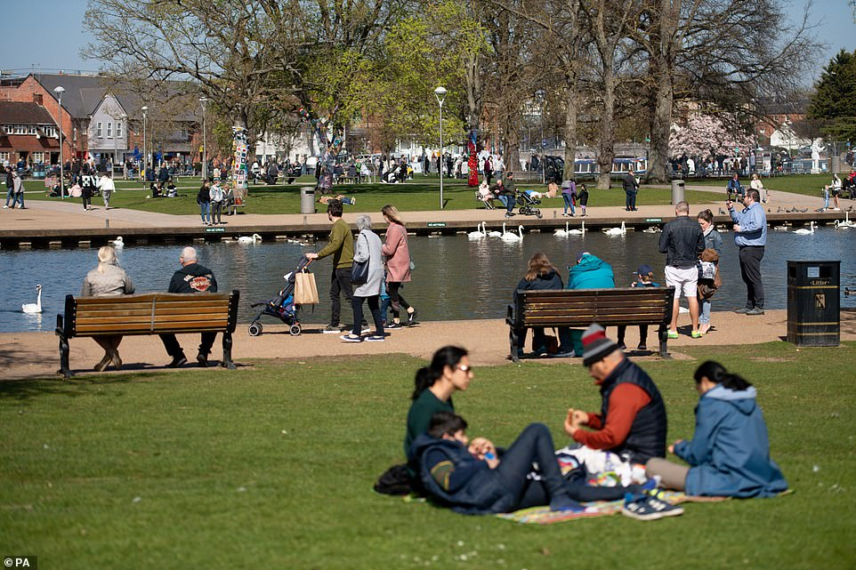 Groups of people out in Stratford-upon-Avon in Warwickshire as Easter Sunday brings warm weather across the South of England