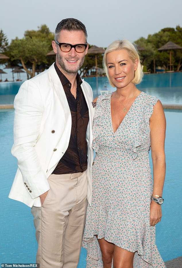 Wedding bells: Denise van Outen has revealed her plans to propose to Eddie Boxshall last Spring were ruined by lockdown (picture together in 2019)
