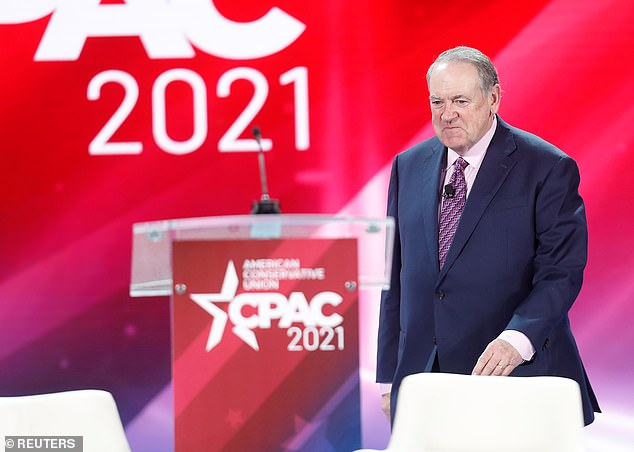 Huckabee (pictured) appeared to be referring to Georgia's sweeping new voting law, which many have blasted as voter suppression, while also mocking those who oppose hate and violence against Asian Americans