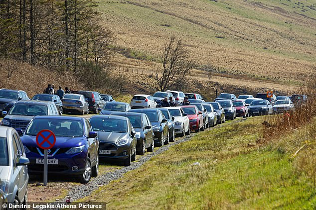 People flocked to the beaches during the Bank Holiday as a sea of cars parked near the Storey Arms in the Brecon Beacons on Sunday