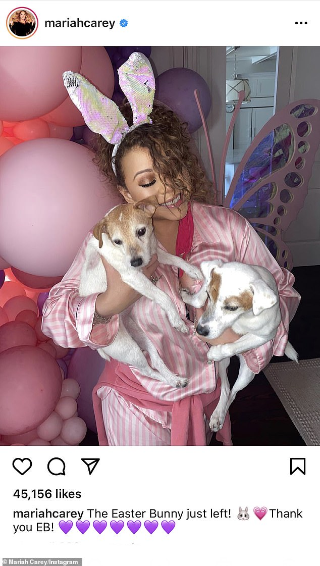 Celebs do Easter! Mariah Carey led the charge on Easter Sunday in sparkly bunny ears and silky striped pajamas while telling her followers 'The Easter Bunny just left!'