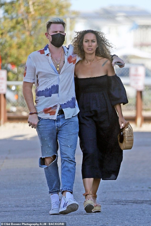 Loved-up: Leona Lewis and Dennis Jauch were seen browsing in high-end furniture store The Blue Door, while out and about in Montecito on Sunday