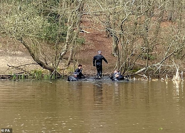 Police divers have been seen searching a pond in Epping Forest as part of the investigation into the disappearance of 19-year-old student Richard Okorogheye