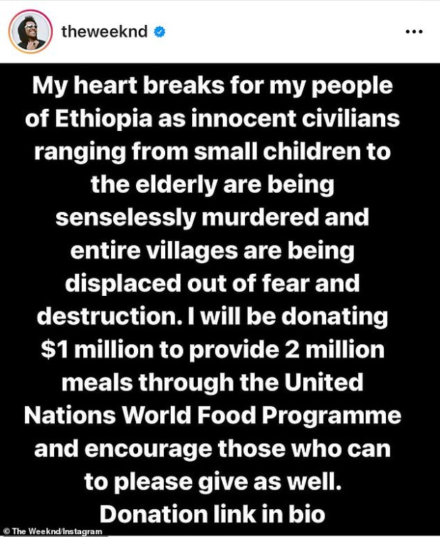 Heartbroken: 'My heart breaks for my people of Ethiopia as innocent civilians, from young children to the elderly, are being senselessly murdered and entire villages are being displaced by fear and destruction,' he wrote.