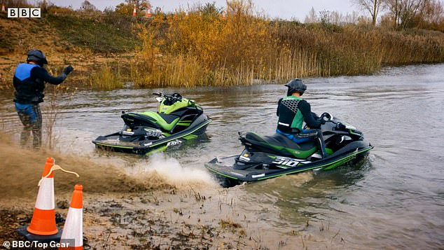 Speedy:After speeding around the muddy track, they are seen arriving at a lake where three jet skis await them