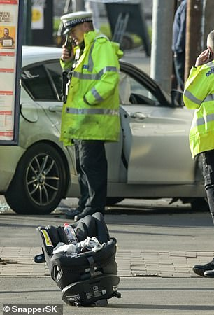 The young boy was being pushed along the pavement by family at the time and suffered serious injuries