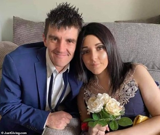 After her terminal diagnosis, she and her boyfriend Joshua Evans, 29, (pictured together) got married her mother's house