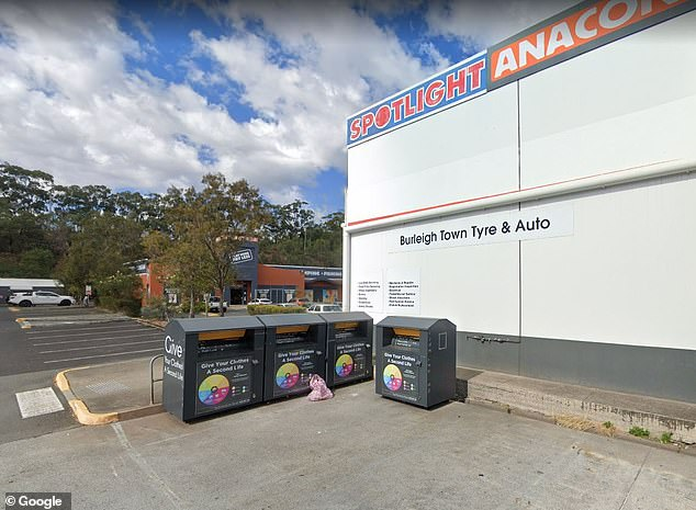 Several charity bins were set up behind the shopping centre at Burleigh Heads, on the Gold Coast