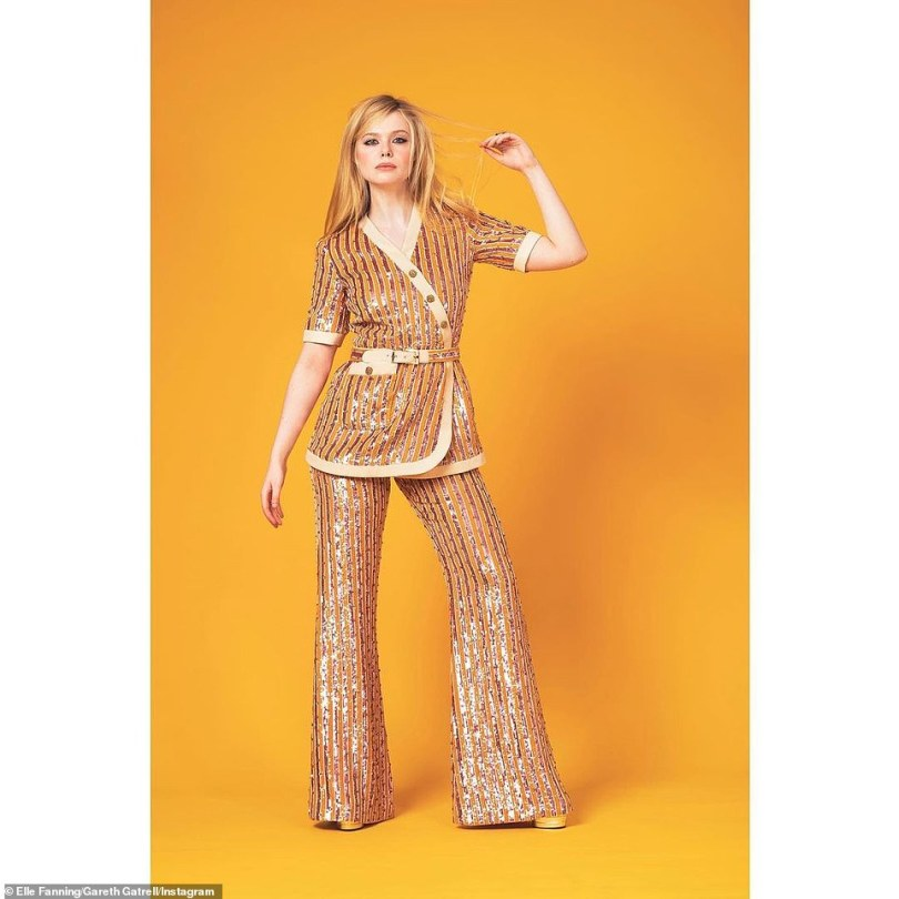 Strike a pose: Elle Fanning looked seventies chic for the SAG Awards