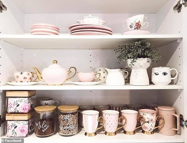 Home stylist Sonya Meares tries to include seasonal touches in her home when possible and 'snuck in some Easter decor' before taking pictures of her flawless home