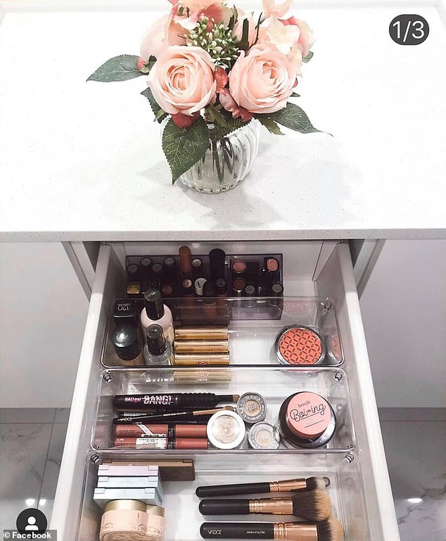 She uses organising trays from different stores including Ikea, Kmart, Target and Bunnings