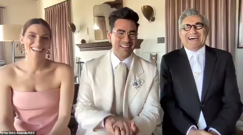 Family affair! Dan Levy accepted the award forBest Ensemble In A Comedy Series alongside his fatherEugene Levy and sister Sarah Levy, whom both also star in the show