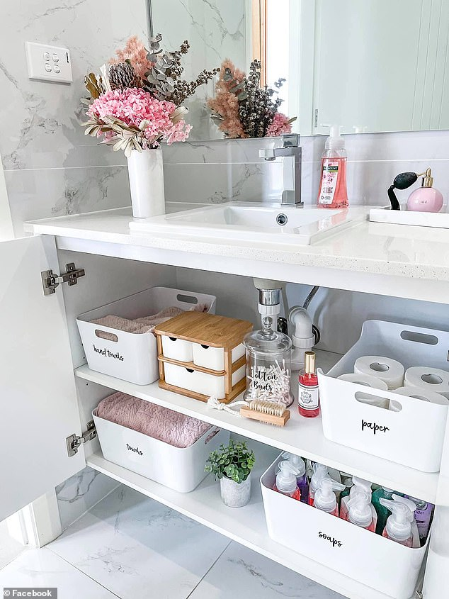 She said she loves to organise kitchens and bathrooms the most and showed off hers