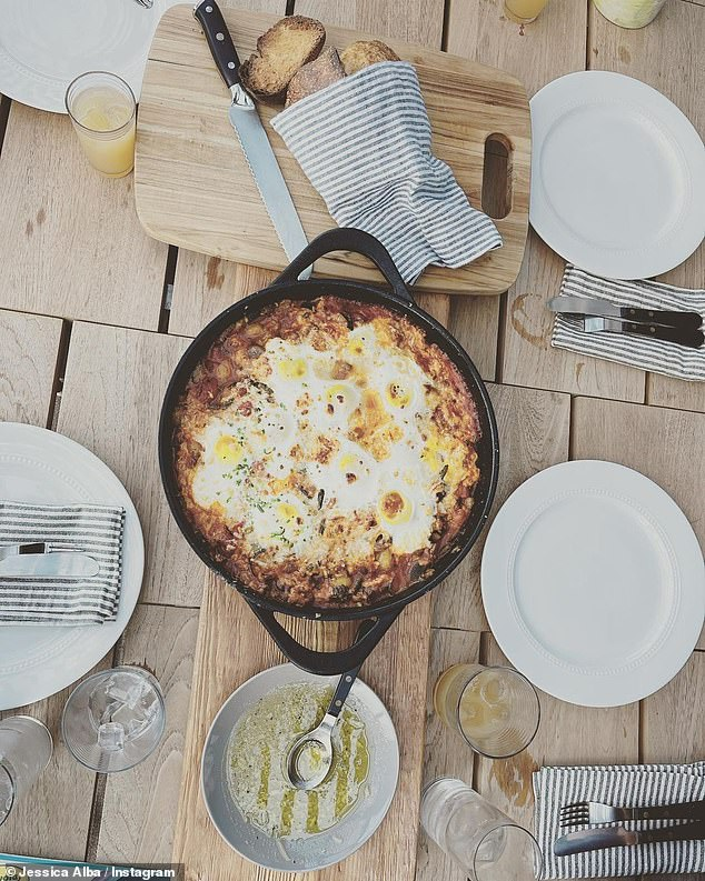 Yum:Alba also included an overhead snap of the family's Easter meal, which looked to include a Middle Eastern dish known as Shakshuka