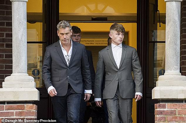 Drug charge: Joshua Allen pictured leaving Cork Circuit Criminal Court with his father Issac Allen (L) in September 2019 after being caught with nearly £19,000 worth of cannabis