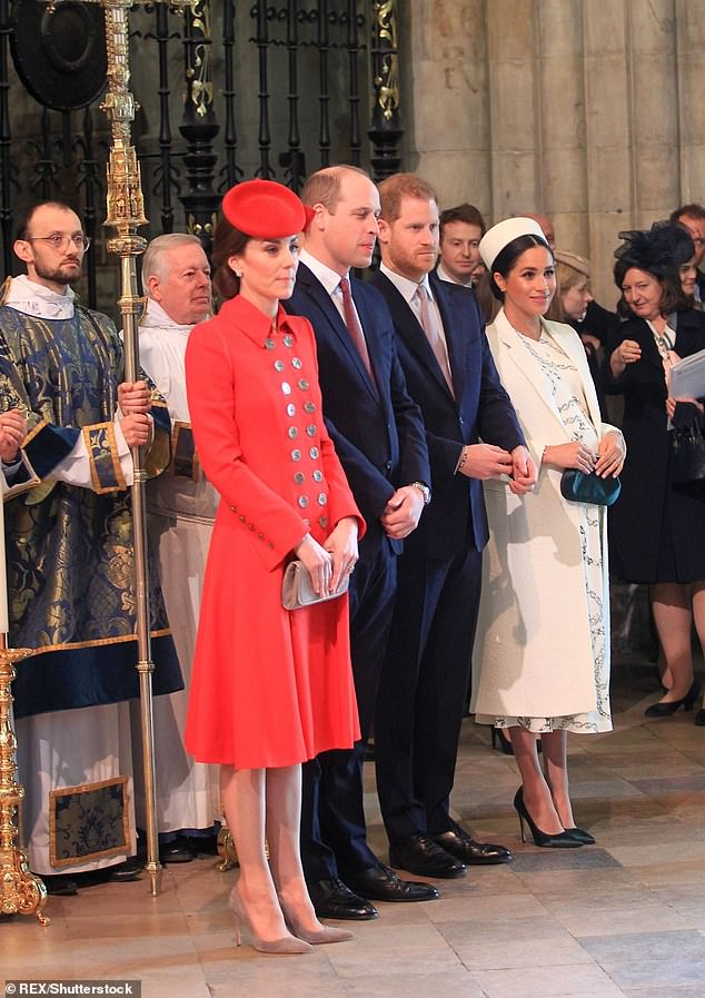 Prince William and the Duchess of Cambridge and Prince Harry and the Duchess of Sussex at the Commonwealth Day Service at Westminster Abbey in London on March 11, 2019