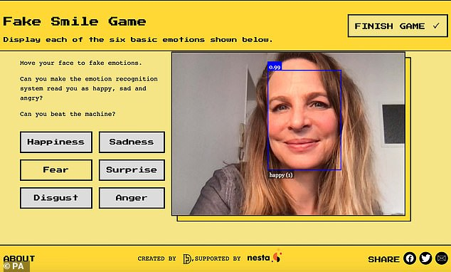 The site, called Emojify (pictured), was built to draw attention to 'emotion recognition' systems, and the downfalls of this powerful technology