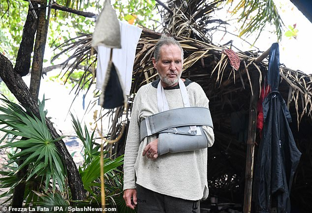 Back to reality (TV): Paul was back in the thick of it on Sunday after returning to Italy's version of I'm A Celebrity in an arm brace after he dislocated his shoulder