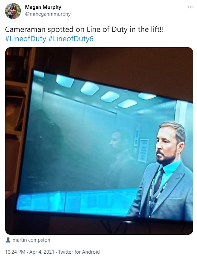 Mirror mirror: Eagle-eyed Line Of Duty fans called out a blunder on Sunday's episode, as DS Steve Arnott got into a lift. The fans spotted the reflection of a camera in the glass